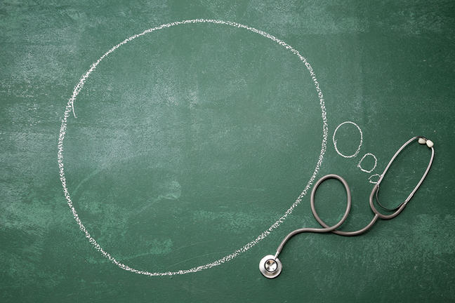 A green chalkboard with a though bubble and a stethoscope.