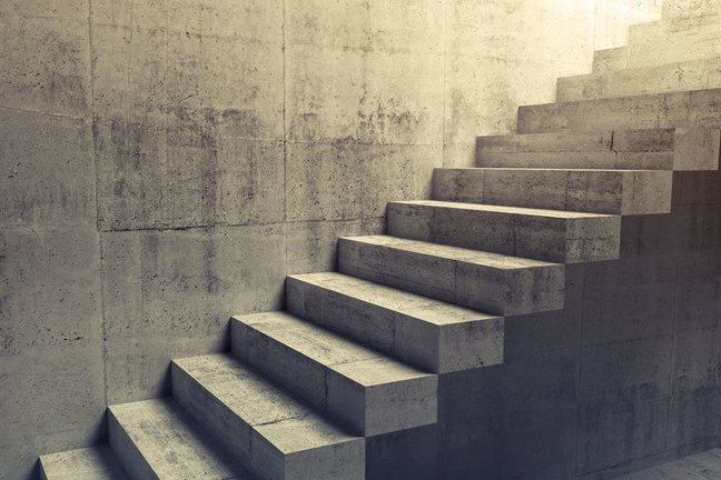 Close up of a set of concrete steps leading upwards