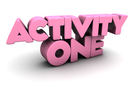 """Image of text displaying the word """"Activity One"""""""