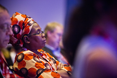 Person listening at a conference