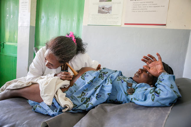 Image of woman receiving antenatal care in ethiopia.