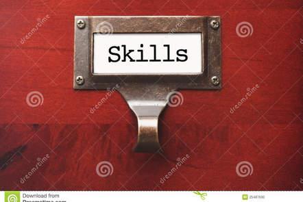 Filing cabinet drawer labelled 'skills'