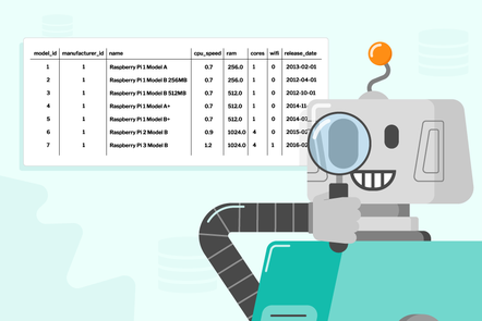 A robot looking at a database table