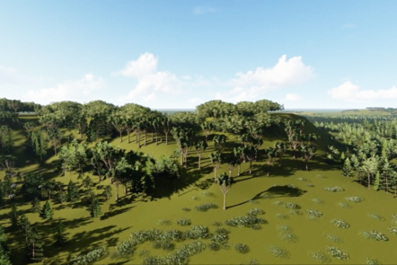 A digital recreation of a large grassy hill covered with lots of green trees.
