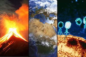 Three images in a row. Volcanoes on the left, Earth from space in the middle, and microscopic organisms on the right.