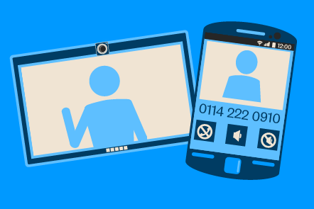A graphic representing a video call on a computer and a smart phone