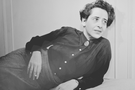 A black and white photograph of political theorist and author Hannah Arendt.