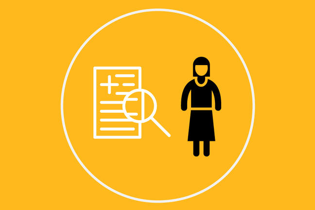 A cartoon image of person is standing next to a research finding. A white line encircles both figures with a yellow background.