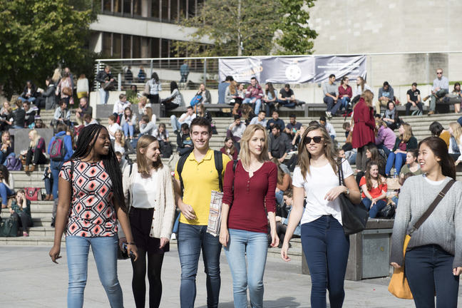 Students in the UEA Square