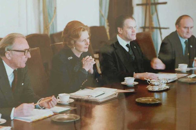 Margaret Thatcher in the White House Cabinet Room meeting with President Jimmy Carter.