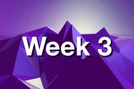"Within purple mountain with ""week 3"" written on it."