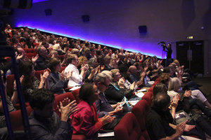 A crowd applauds at BAFTA and BFI Screenwriters' Lecture Series. Photo by BAFTA/Jonathan Birch