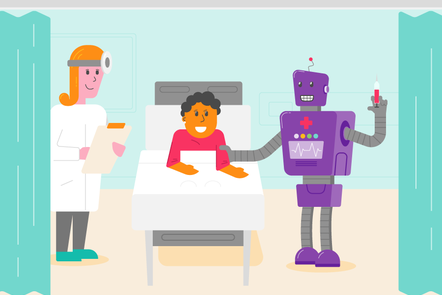 a robot and human doctor speaking to a patient in a bed