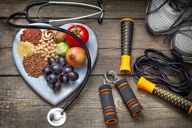Fibrous food items, with running shoes, stethoscope, jump rope and hand grips.