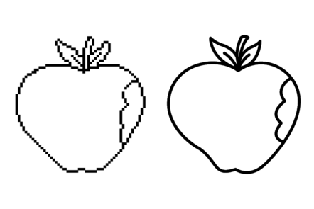 Two line drawings of an apple - one is pixelated, the other is smooth