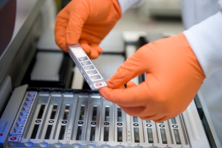 Laboratory worker in orange gloves analysing a sample