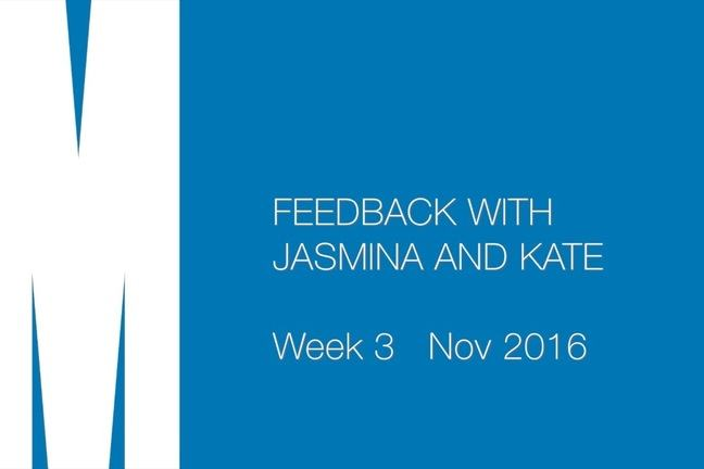 Feedback with Jasmina and Kate. Week 3. Nov 2016