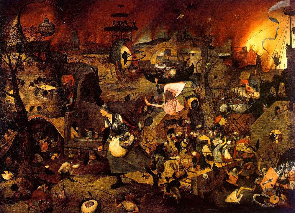 Hieronymous Bosch painting depicting death and destruction during the Black Death plague