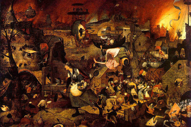 Hieronymous Bosch painting depicting death and destruction during the Black Death plague