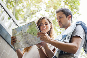 Tourists consulting a map