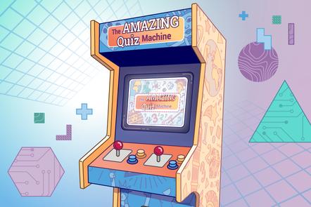"""An arcade machine labelled """"The AMAZING QUIZ Machine"""""""
