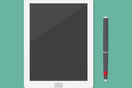 A tablet and stylus