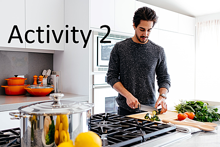 Man preparing vegetables in modern kitchen with words: Activity 2
