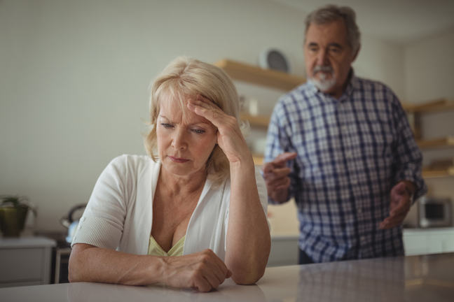 Image of an older couple arguing
