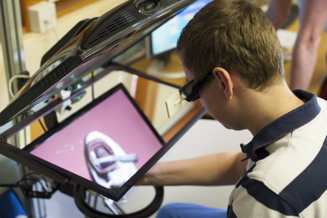 Virtual reality haptic system - Virtual Dental Lab in action.