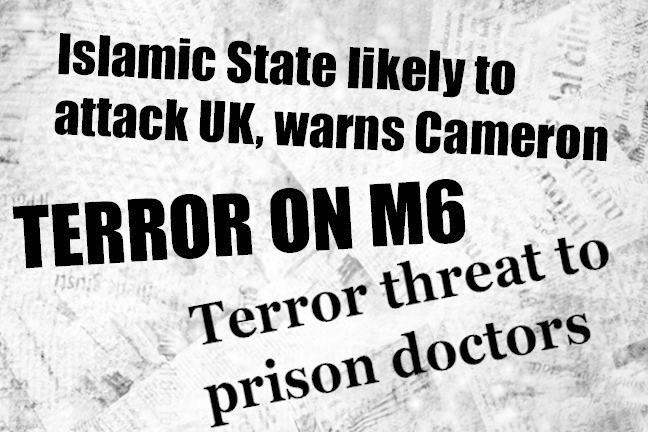 Newspaper headlines about terror