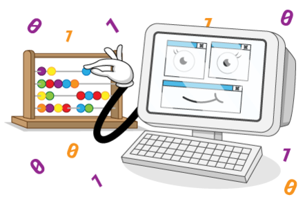 A cartoon illustration of a computer counting using a abacus