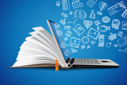 Book on right hand side with laptop on left and illustrated icons signifying knowledge emerging from screen