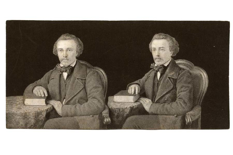 Two slightly different images of Louise Jules Duboscq seated a table, his right hand resting on a book on the table.