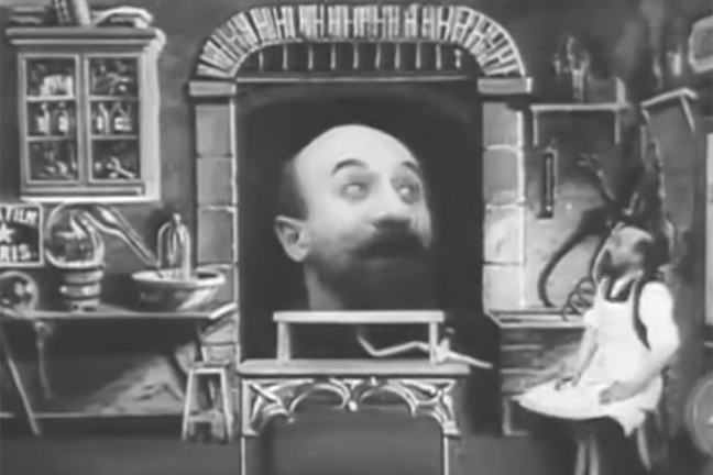 "Still from Georges Méliès' ""India Rubber Head"" (1901)"