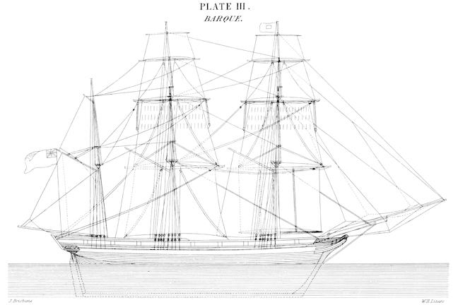 A mid-19th century diagram of a sailing barque, probably very similar to the Flower of Ugie.