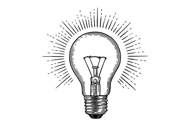 Drawing of a lightbulb