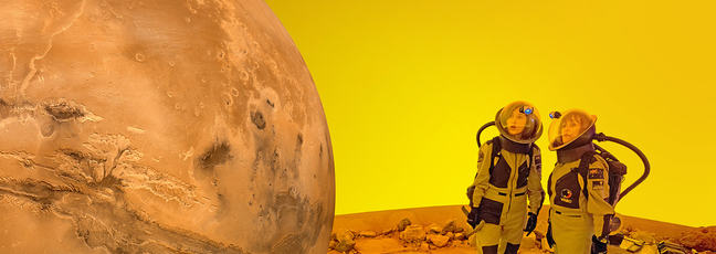 Two astronauts standing on the surface of Mars.