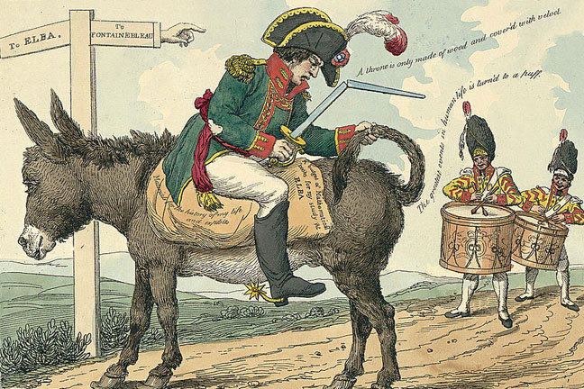 Cartoon from 1814 showing Napoleon seated backwards on a donkey, on his way to exile on Elba.