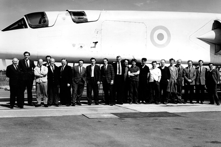 The proud development team in front of one of only two TSR-2s built.