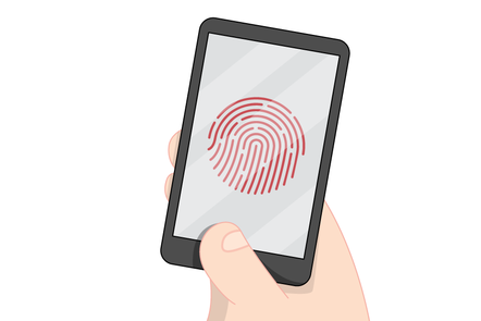 A mobile phone being unlocked with a fingerprint scanner