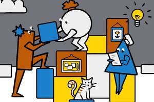Various cartoon character shapes working together including passing boxes between them.