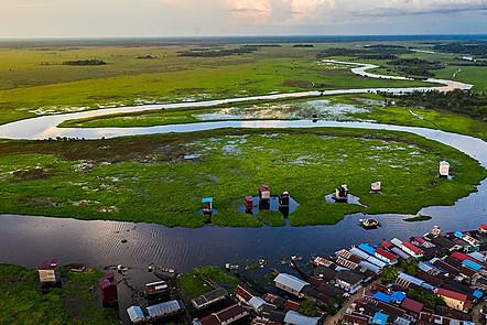 Panorama of Sabintulung Village, Muara Kaman District, Kutai Kartanegara Regency, East Kalimantan.