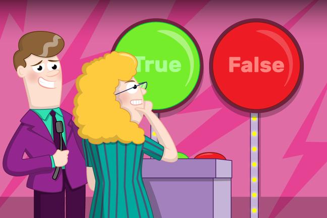A cartoon illustration of a 'True or False' game show
