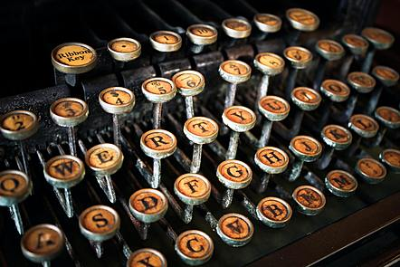 An old-fashioned typewriter keyboard