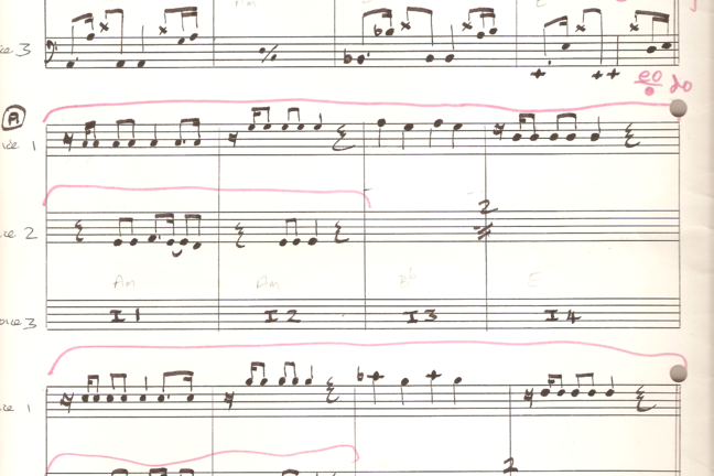 Autograph music manuscript of Rob Hubbard's score to Commando.