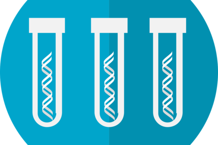 Vector image of three white DNA helix in three different white assay tubes on a blue circle background.