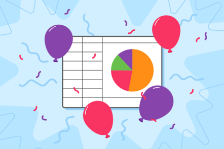An illustration of  party balloons surrounding a spreadsheet containing a pie chart