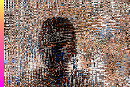 Pixelated image of a criminal in a ski mask
