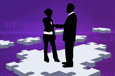 Illustration of silhouetted figures shaking hands
