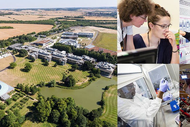 Main photo, Wellcome genome campus aerial view, with smaller photos of our course and conferences: in the IT training room, hands-on practical work in a science laboratory; plus a clipped view of sharing a poster, and inside a lecture theatre